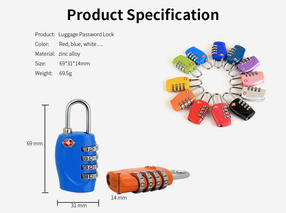 Luggage Locks with 4 Digit Combination for Travel, Baggage, Suitcases & Backpacks 8