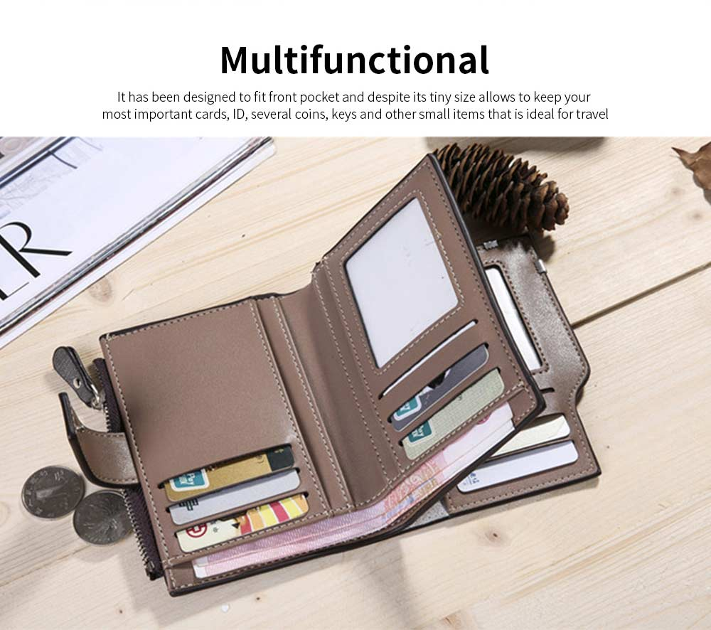 Business Multifunctional Men's Long Wallet with Multi-card And Three-fold, Durable Waterproof Wallet for Photos and Cards 12