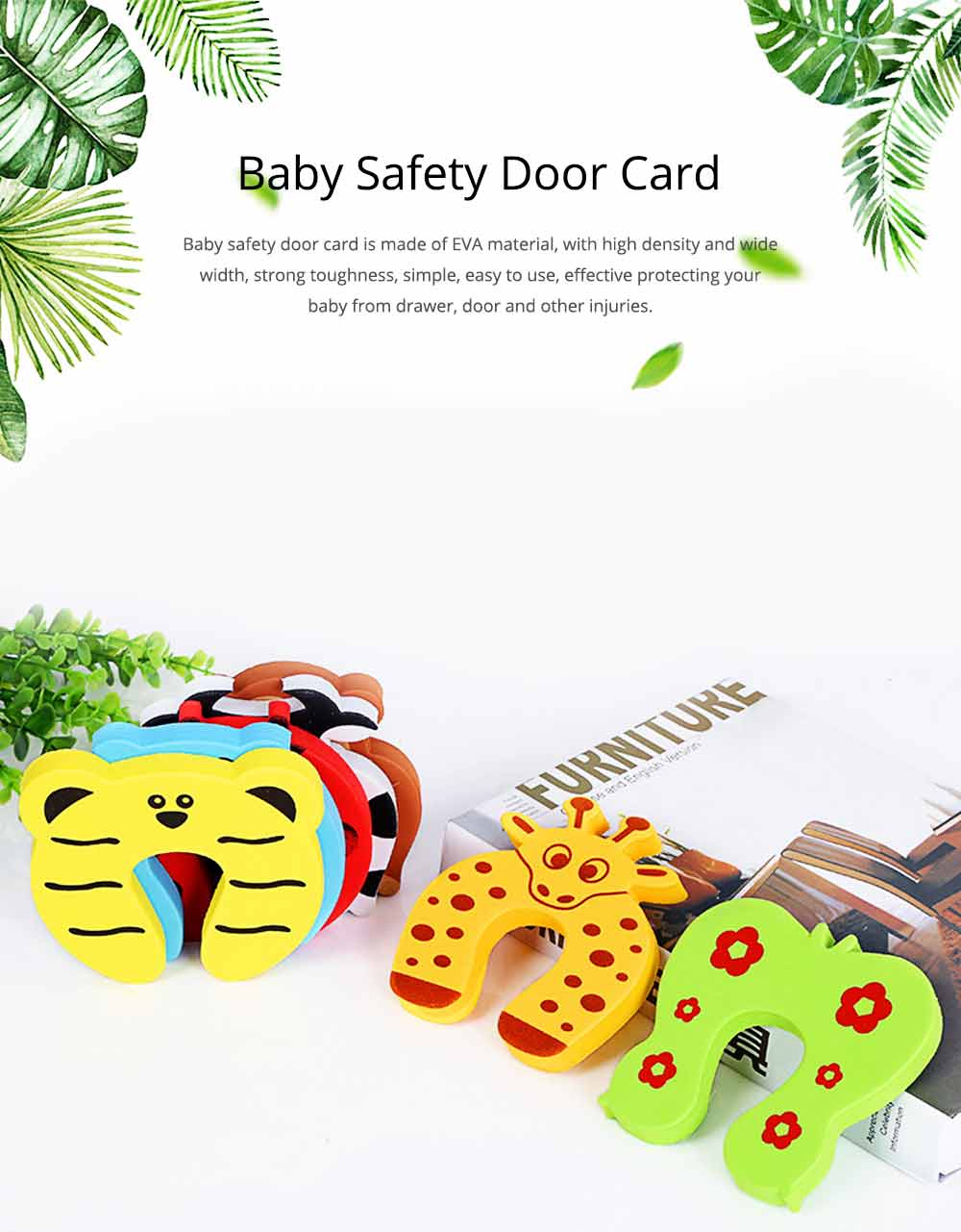 Baby Safety Door Card, Cartoon Creative EVA Windproof Anti-clip Door Stopper for Baby Pinch Guard 10