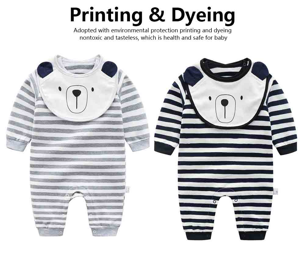 Baby Girl Organic Cotton Long Sleeve Romper, Lovely Bear Shape Stripe Onesie 2