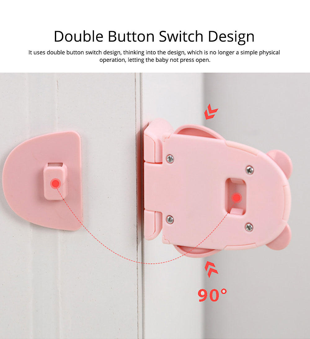 Baby Cartoon Anti-pinching Lock, Multifunctional Safety Lock with Double Button Switch Design 1