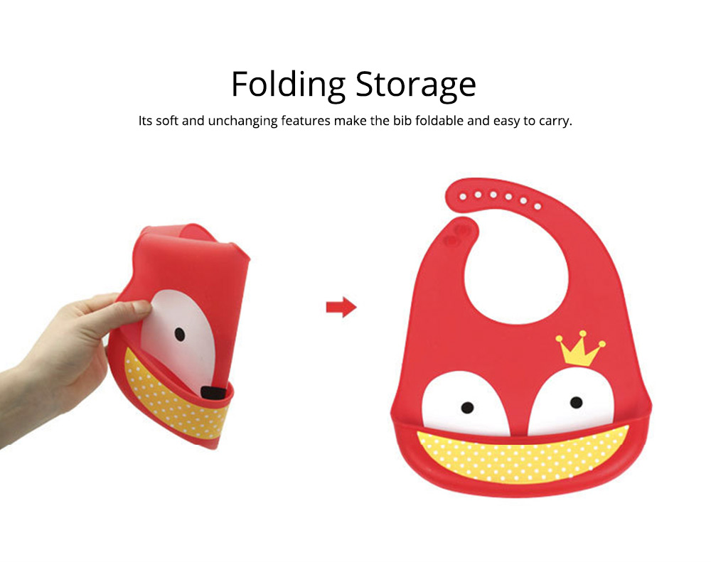Baby Bib With Food Pocket, Breathable 6-Button Silicone Eating Bib 3