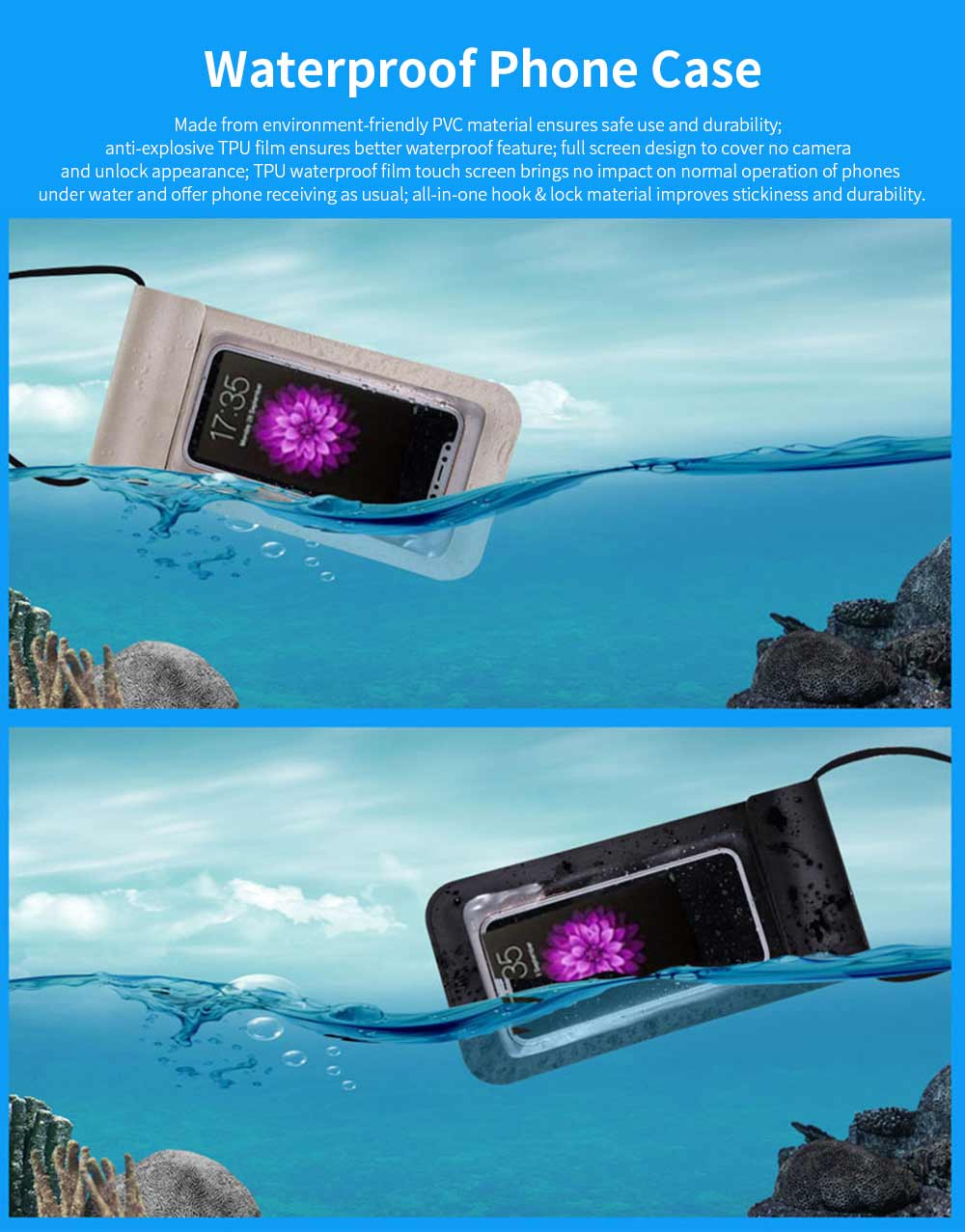 Waterproof Diving Phone Case, Touch Screen Best Waterproof Phone Cases for Underwater Photography 0