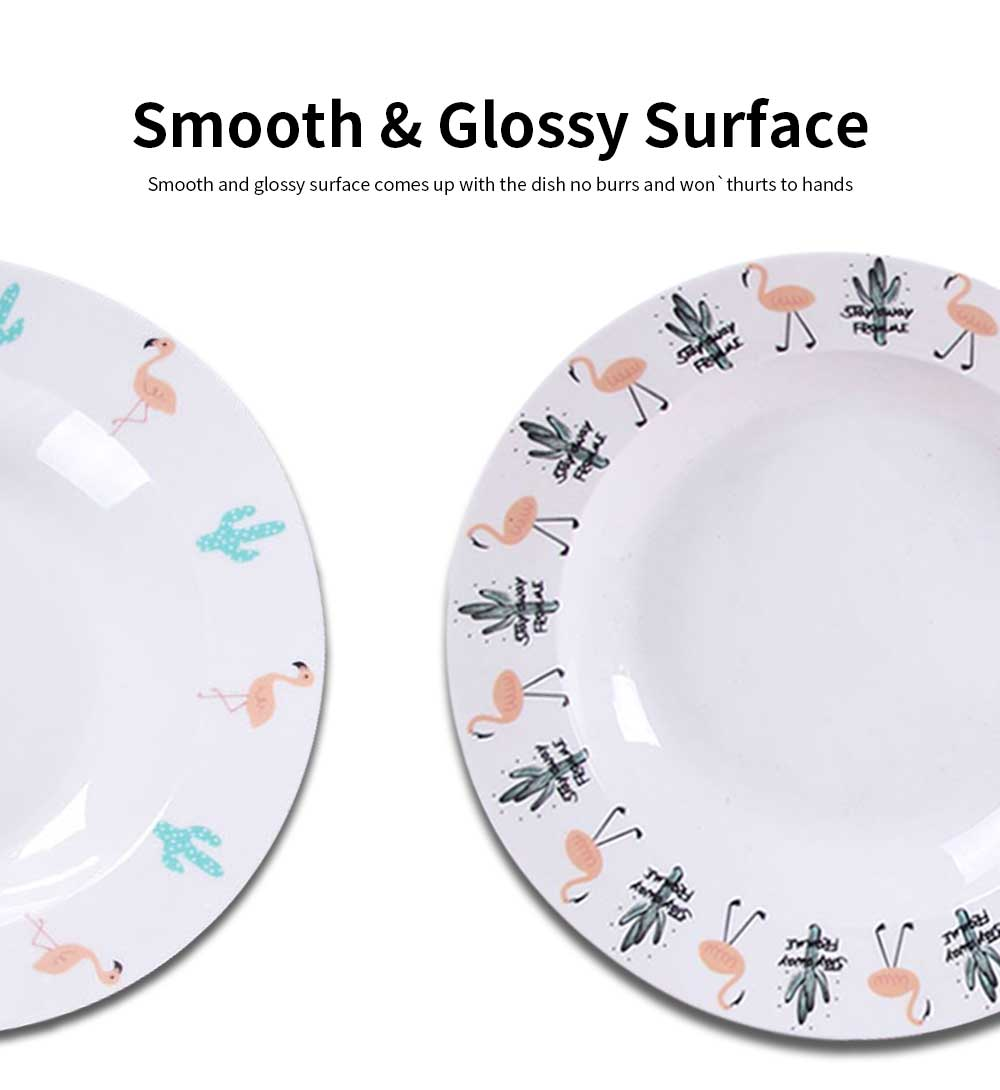 Ceramic Flamingo Plates, Lead Free Porcelain Dinnerware Printed Dishes 5