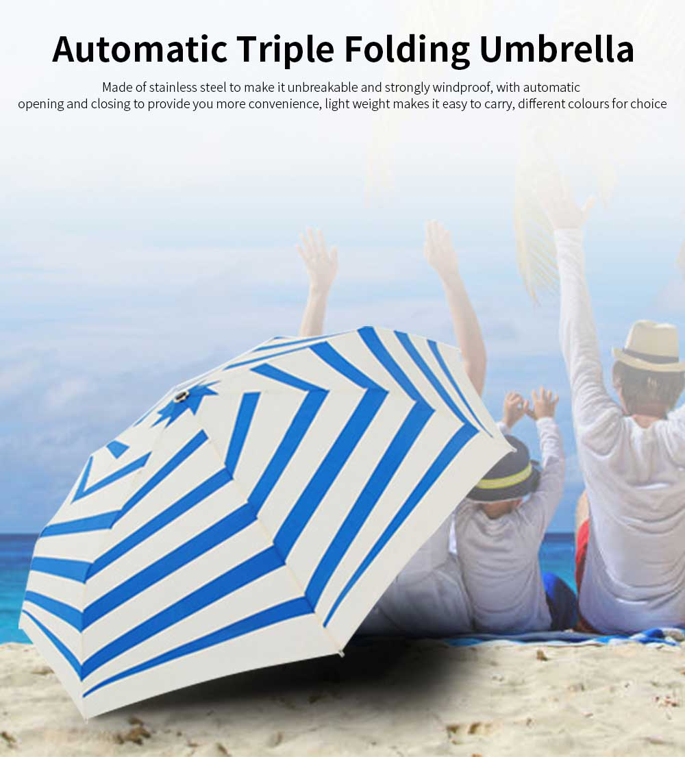 Ladies Automatic Umbrella, Women's Triple Folding Umbrella With Strong Windproof 0