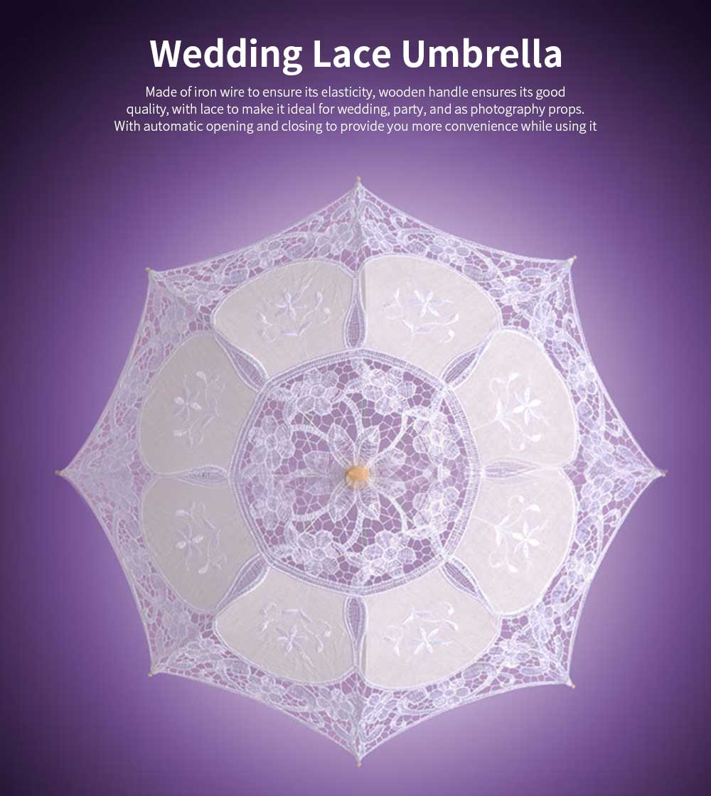 White Lace Umbrella for Wedding, Wedding Parasol with Wooden Handle 0