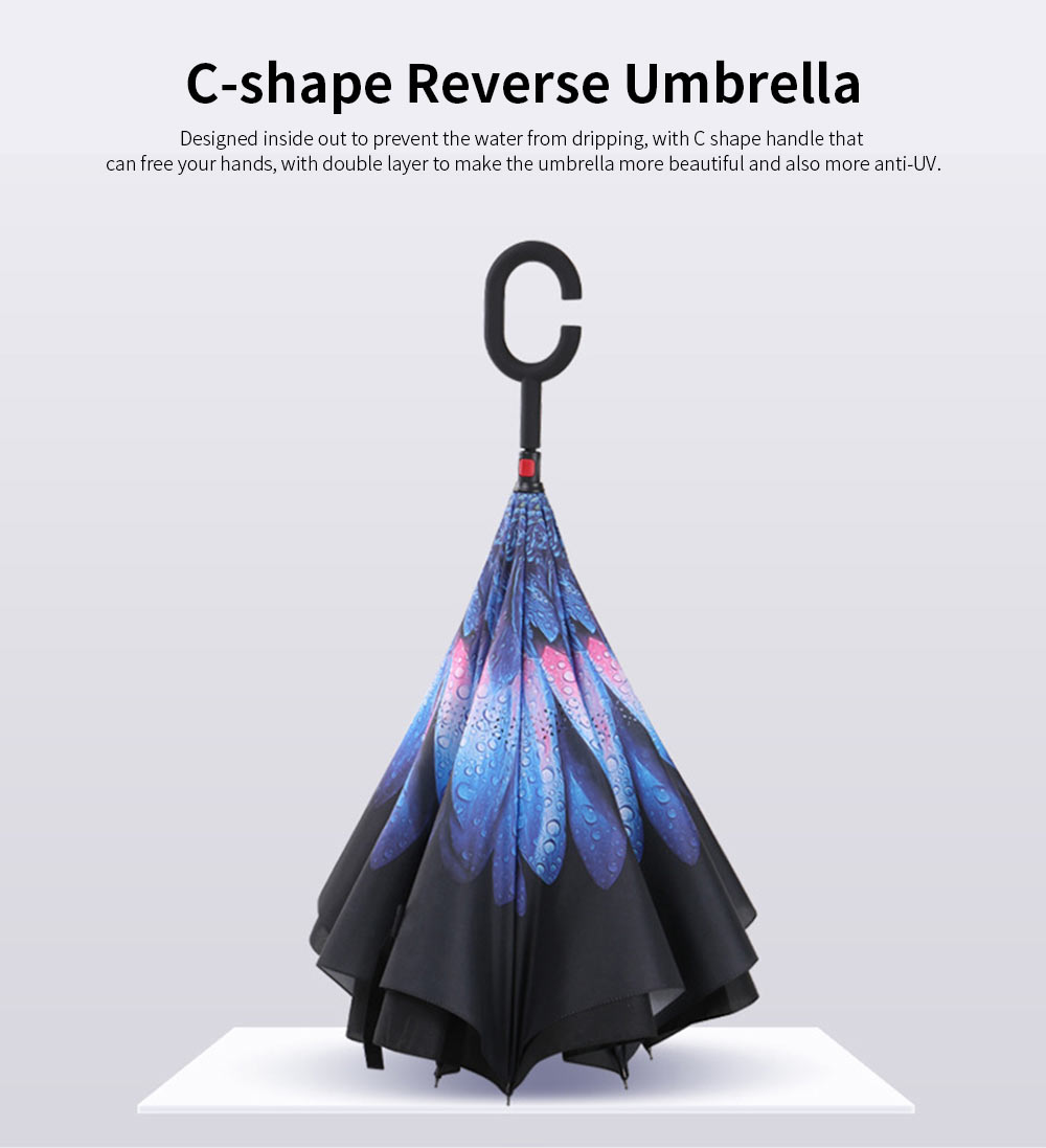 Reverse Double Layer Inverted Umbrella, Inside Out Umbrella With Strong Windproof and C Shape Handle 0