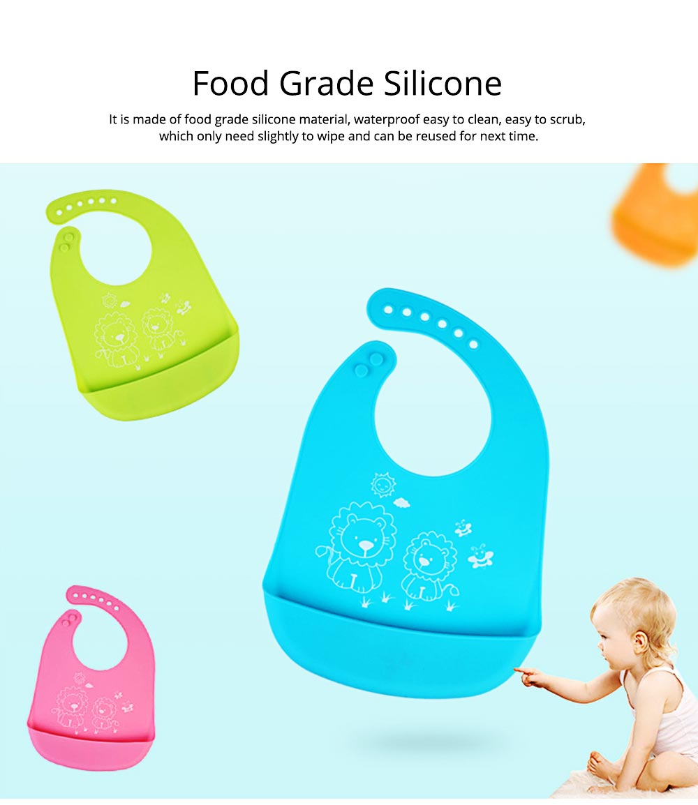 Three-dimensional Pocket Groove Baby's Bib, Waterproof Disposable Rice Bib with 6-button Design 7
