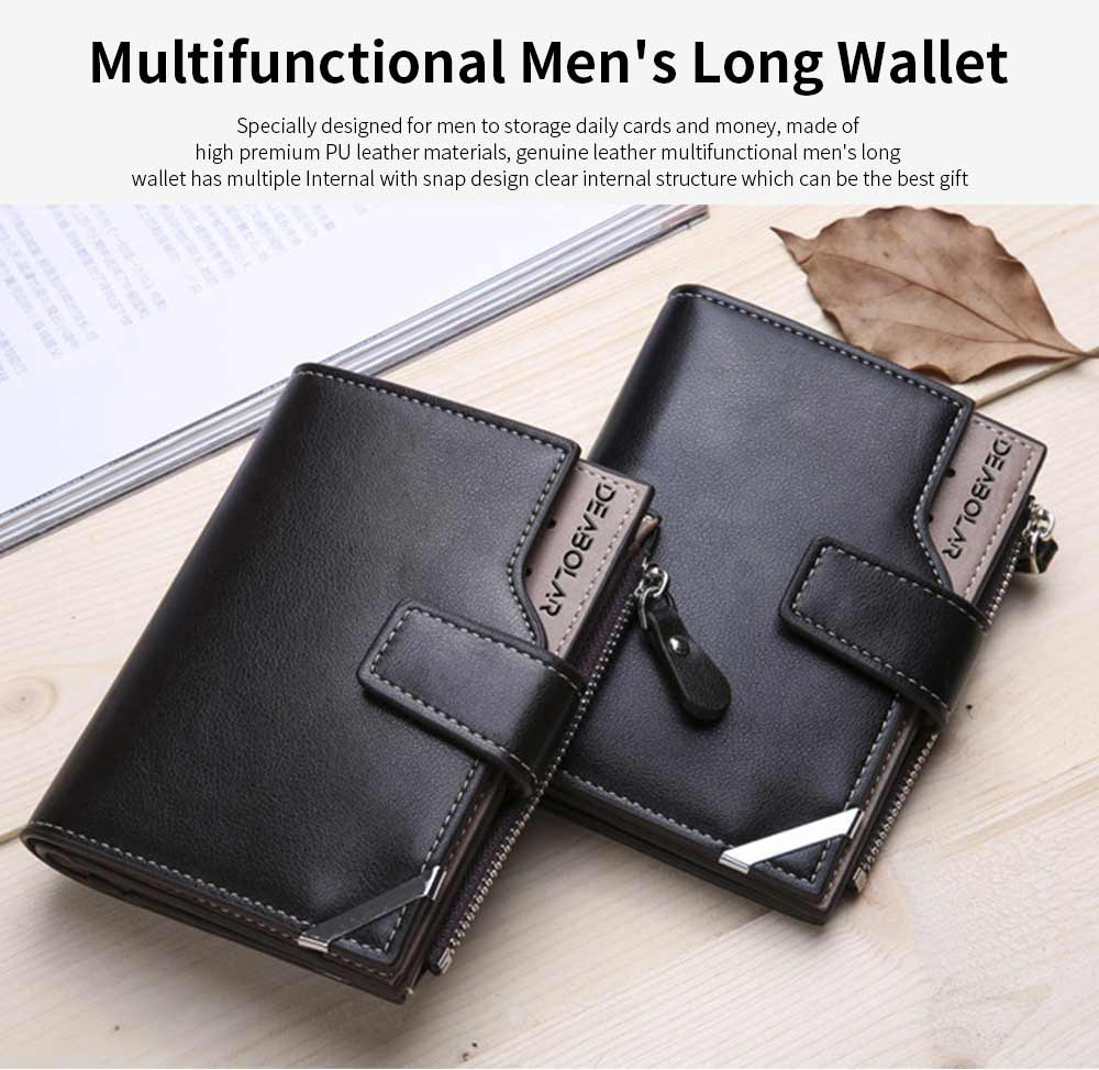 Business Multifunctional Men's Long Wallet with Multi-card And Three-fold, Durable Waterproof Wallet for Photos and Cards 0
