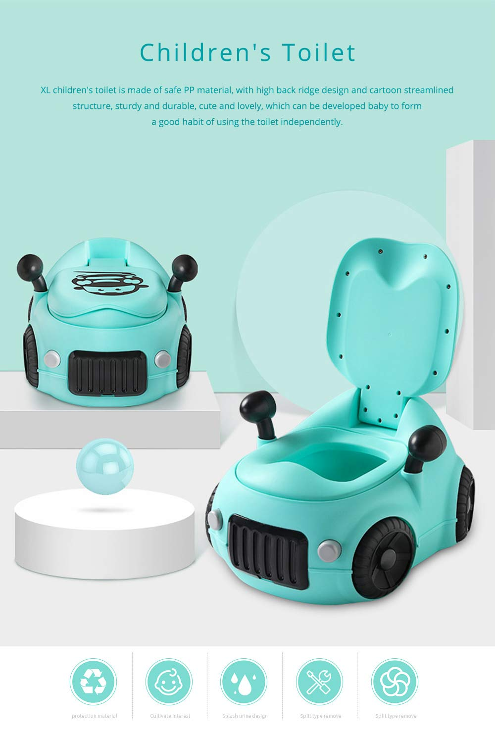 Baby Potty Car, XL Children'S Toilet For Boys And Girls, With High Back Ridge Design 0