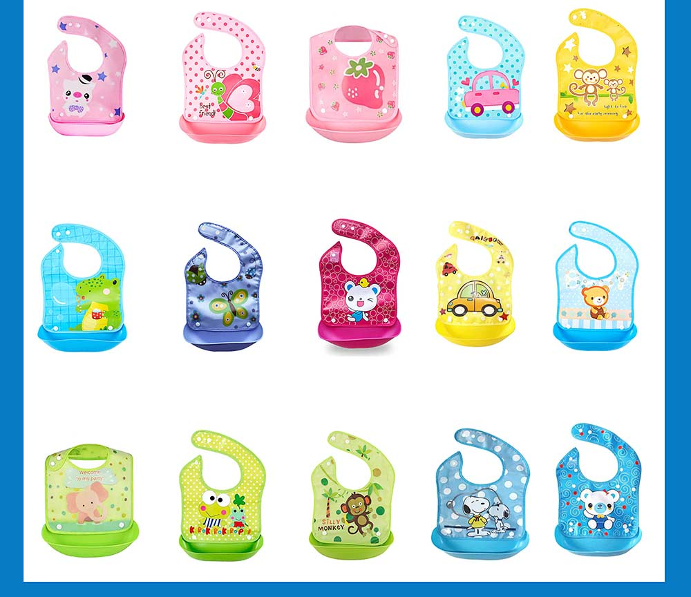 Waterproof Baby Bibs with Snaps Buttons, Silicone Baby's Eating Saliva Bib for Girls and Boys 2