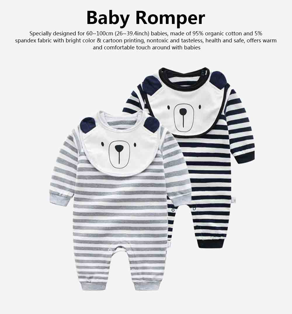 Baby Girl Organic Cotton Long Sleeve Romper, Lovely Bear Shape Stripe Onesie 0