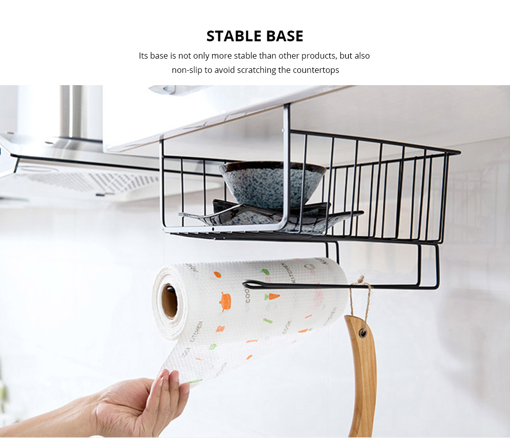 Cabinet Hanging Basket Hanger, Carbon Steel Kitchen Storage Rack, Embedded Suspension Storage Shelf 3