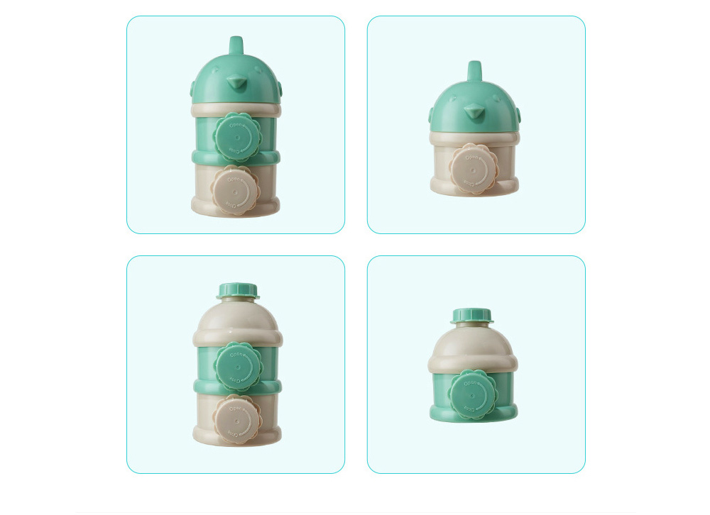 Portable Baby Infant Travel Formula Dispenser Container, 3 Layers Large Capacity Sealed Cans for Baby 10