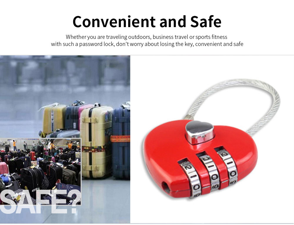Hot Selling Mini Couple Luggage Lock, Heart Shaped Gift Lock, Love Wire Rope Password Lock 1