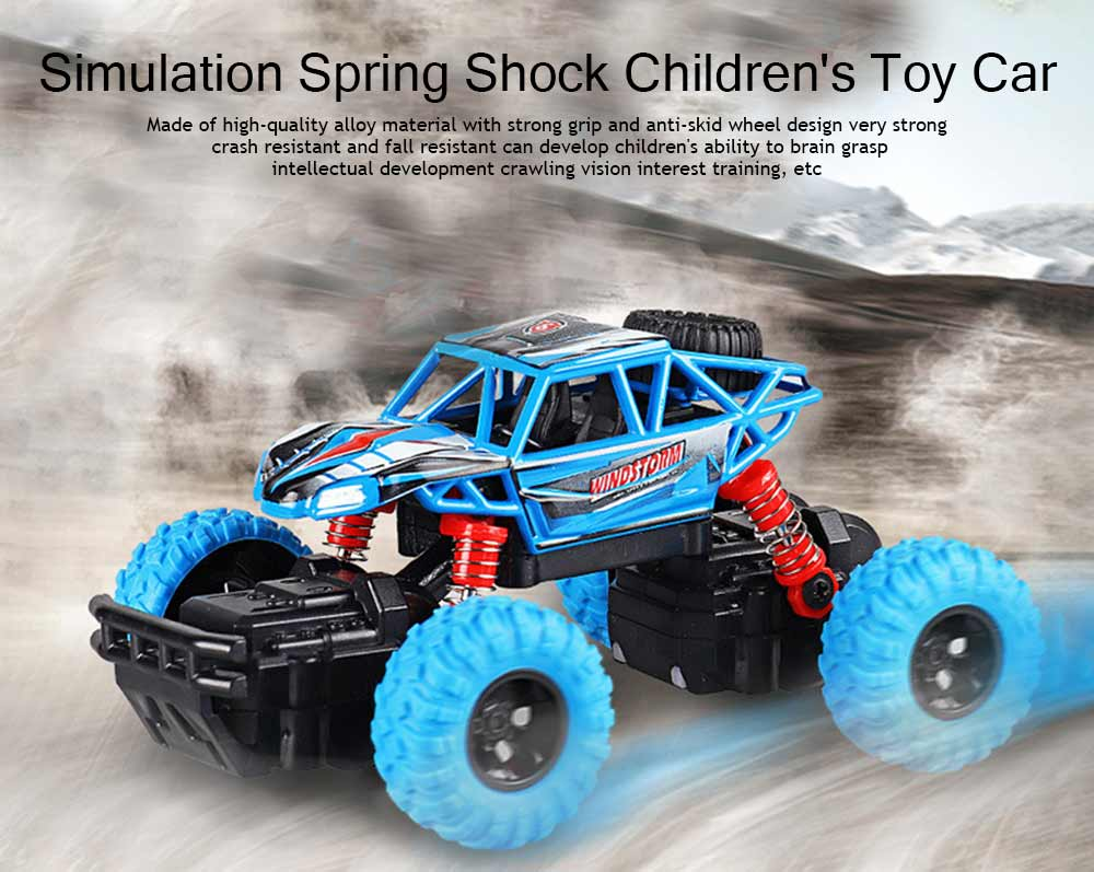 Off-road Vehicle Children's Toy Car, Q Version Cartoon Simulation Spring Shock Big Foot Four Wheel Climbing Car 0