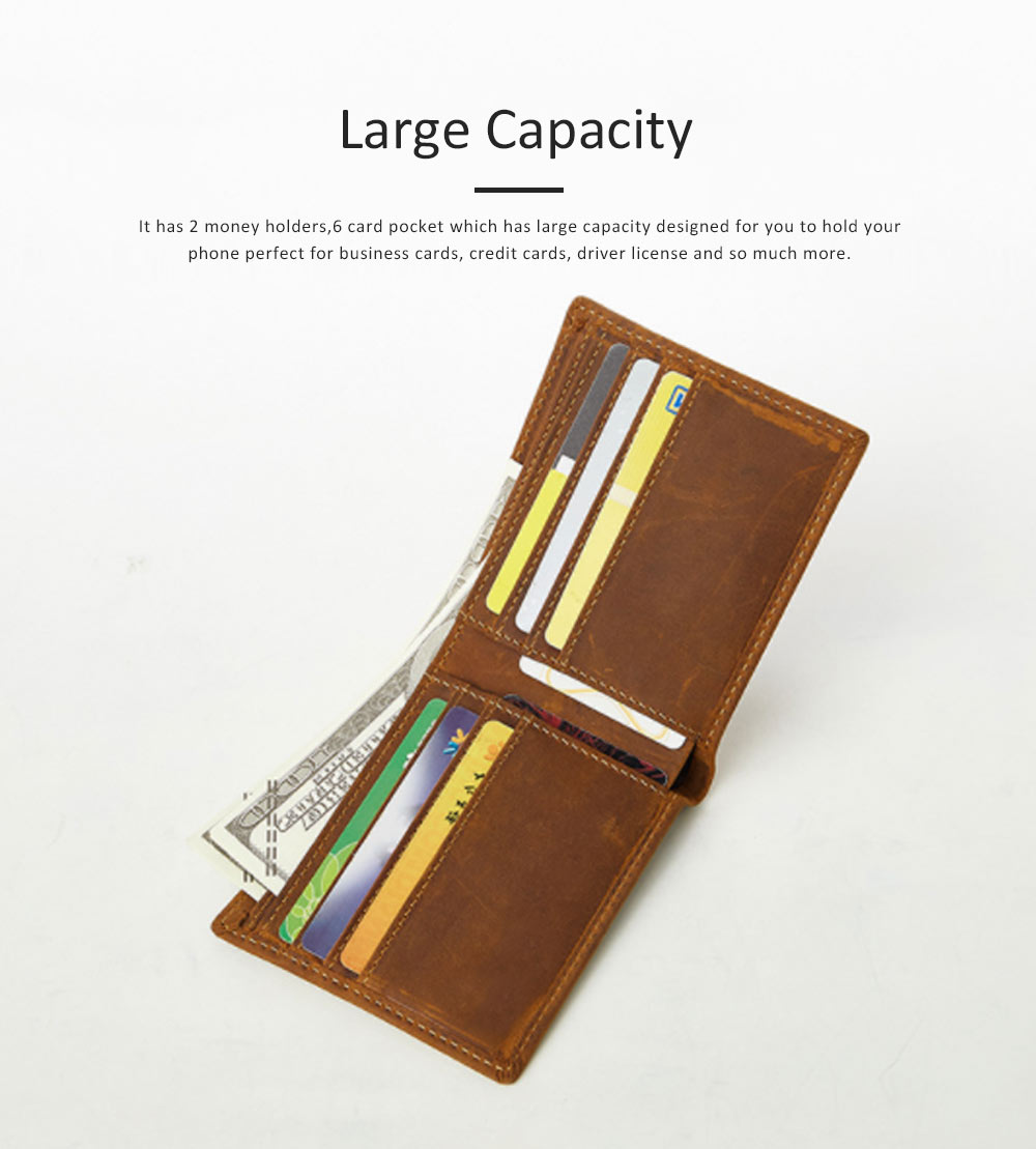 Men's Leather Short Wallet with RFID, Wear-resistant Fashion Casual Purse with Multi-cards 3