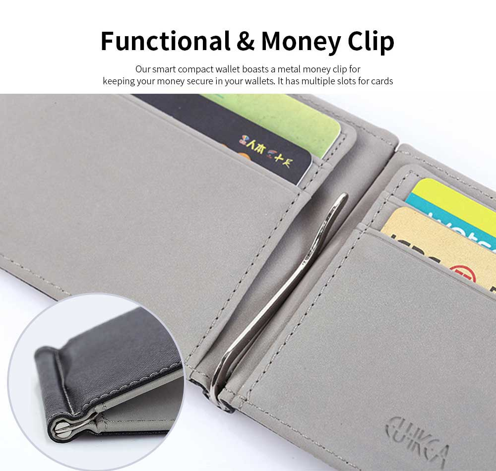 Leather Card Wallet With Money Clip, Sewing Thread Flip Wallet Credit Card Holder 3