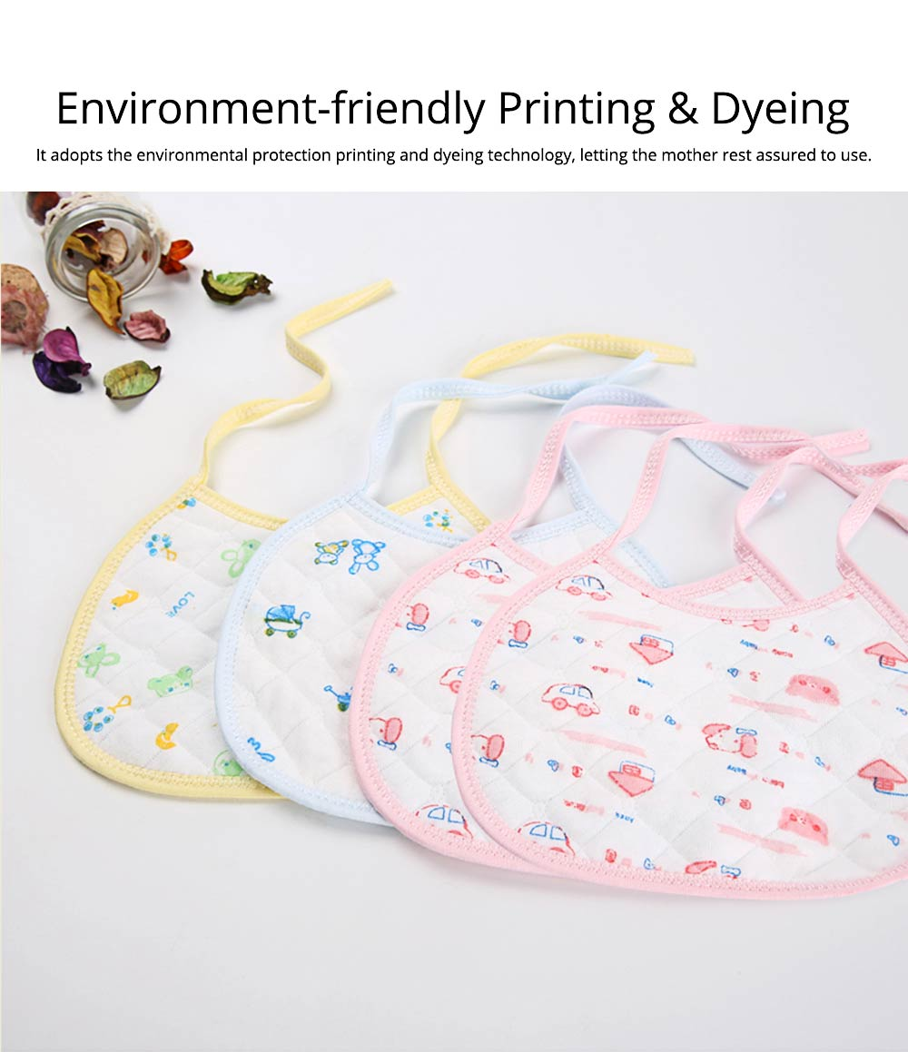 10 PCS Cartoon Baby Bib, Baby Ecological Cotton Fabric Bib With Adjustable Band 4