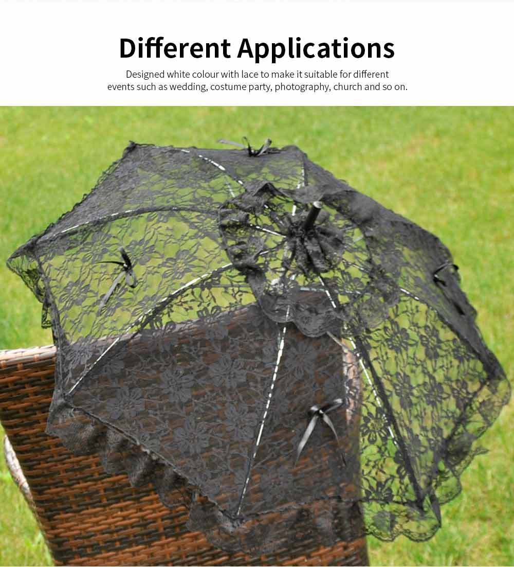 Wedding Lace Parasol Umbrellas, Wedding Decoration Umbrella With Wooden Handle 4