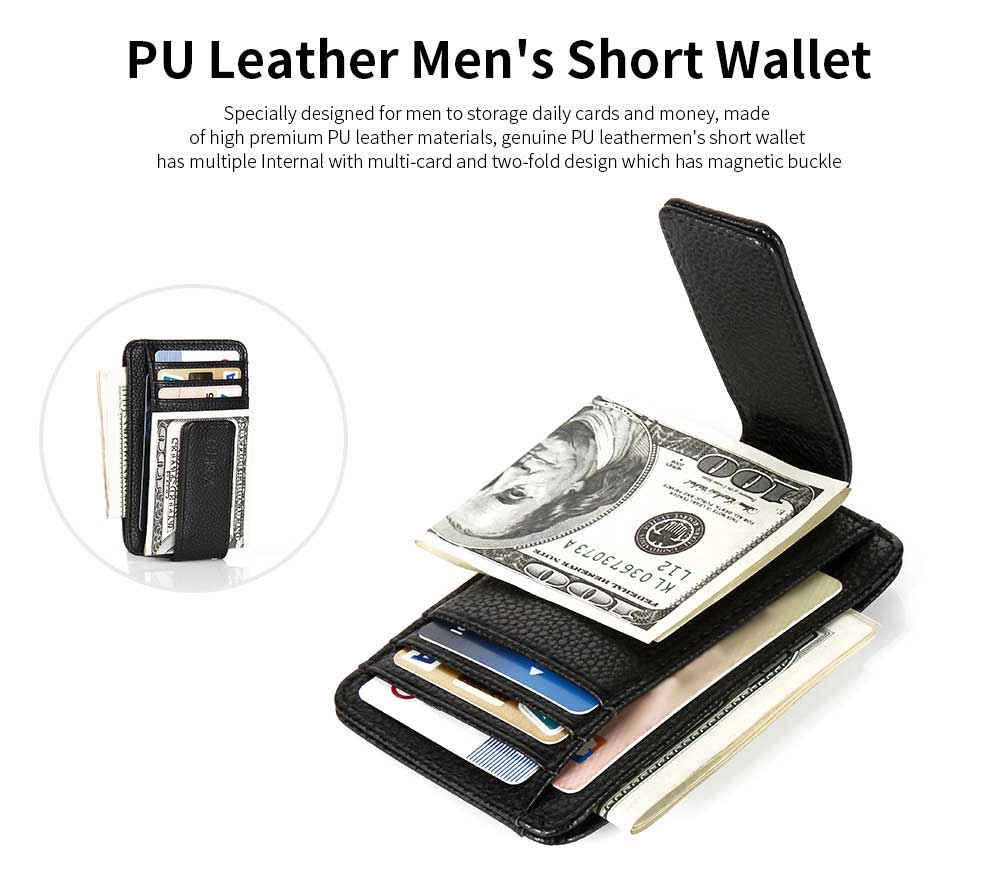 PU Leather Men's Short Wallet with Multi-card And Two-fold, Magnetic Buckle Coin Purse Card Holder Cash Purse 8