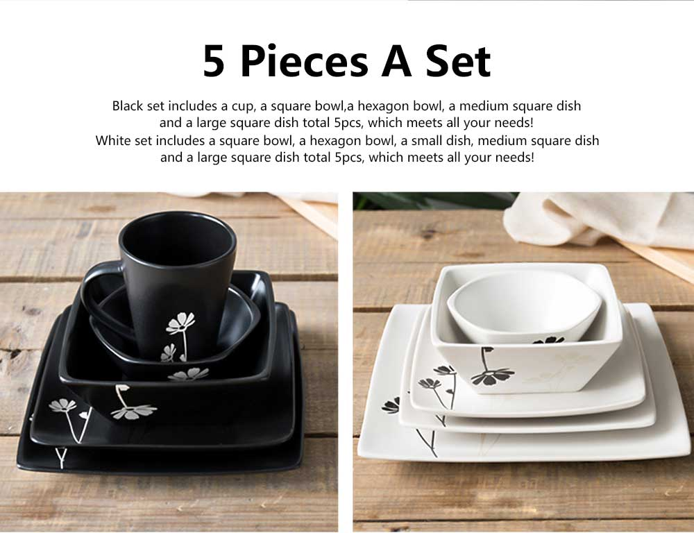 Hand Painted Ceramic Dinnerware for Restaurant, Home Use, Square Dish Bowl Cup Kit 5 PCS 14
