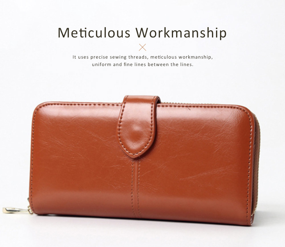Fashion Oil Wax Leather Wallet for Female Long Zipper Phone Case 2019 1