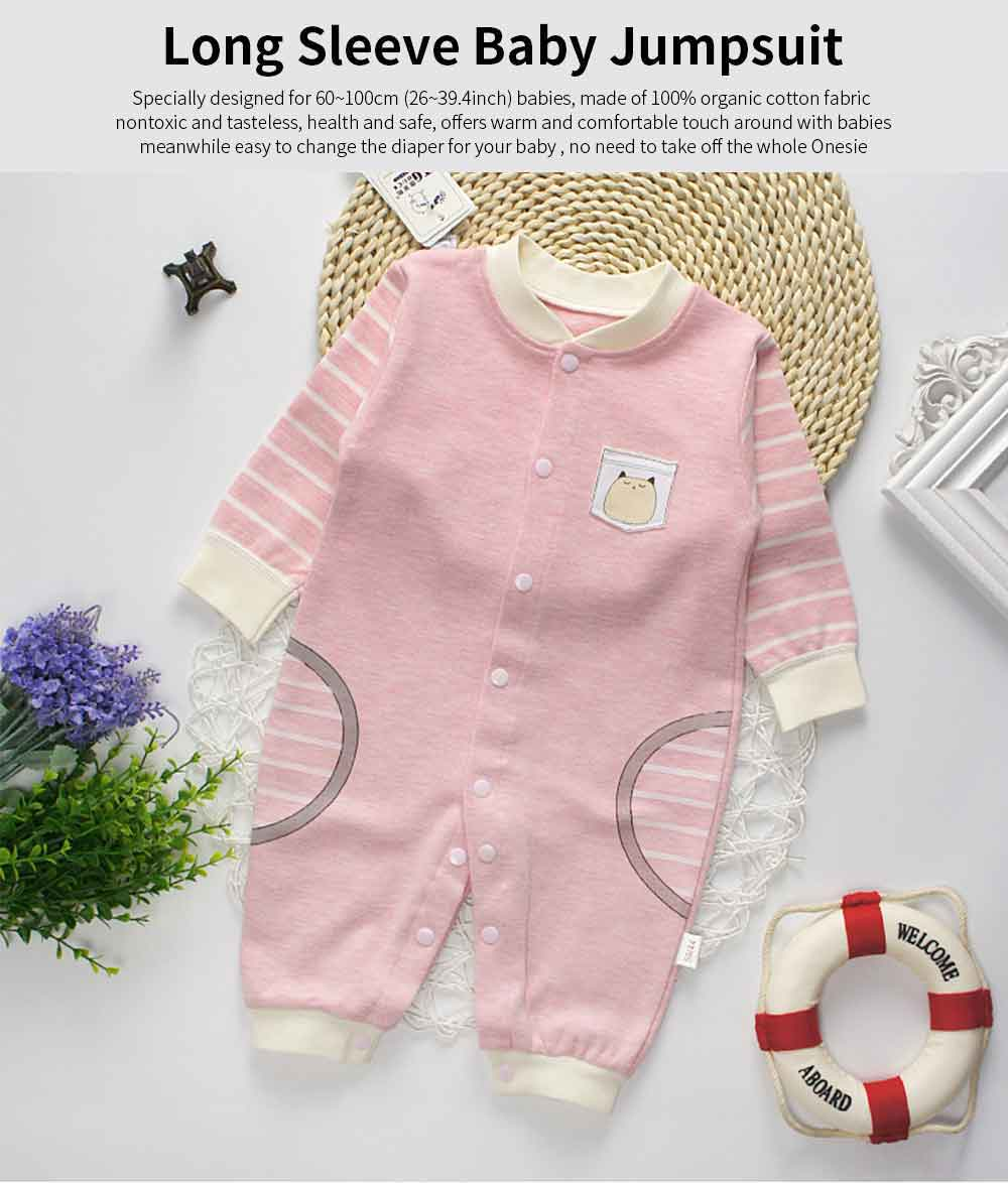 Long Sleeve Baby Jumpsuit for Spring Autumn Winter, Unisex 1-12 Months Baby Romper 0