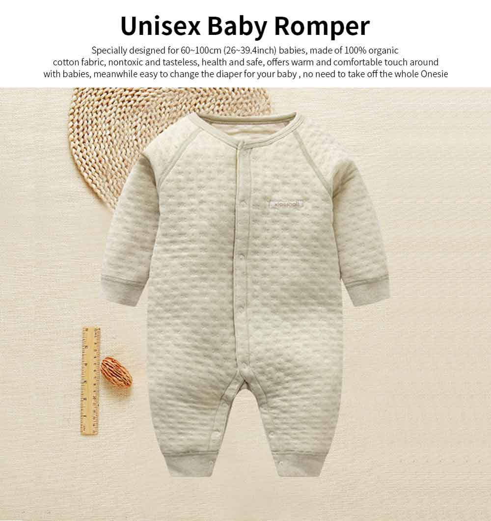 Unisex Baby Romper Skin-friendly Organic Cotton Baby Onesie Pure Color Long Sleeve Babysuit 0