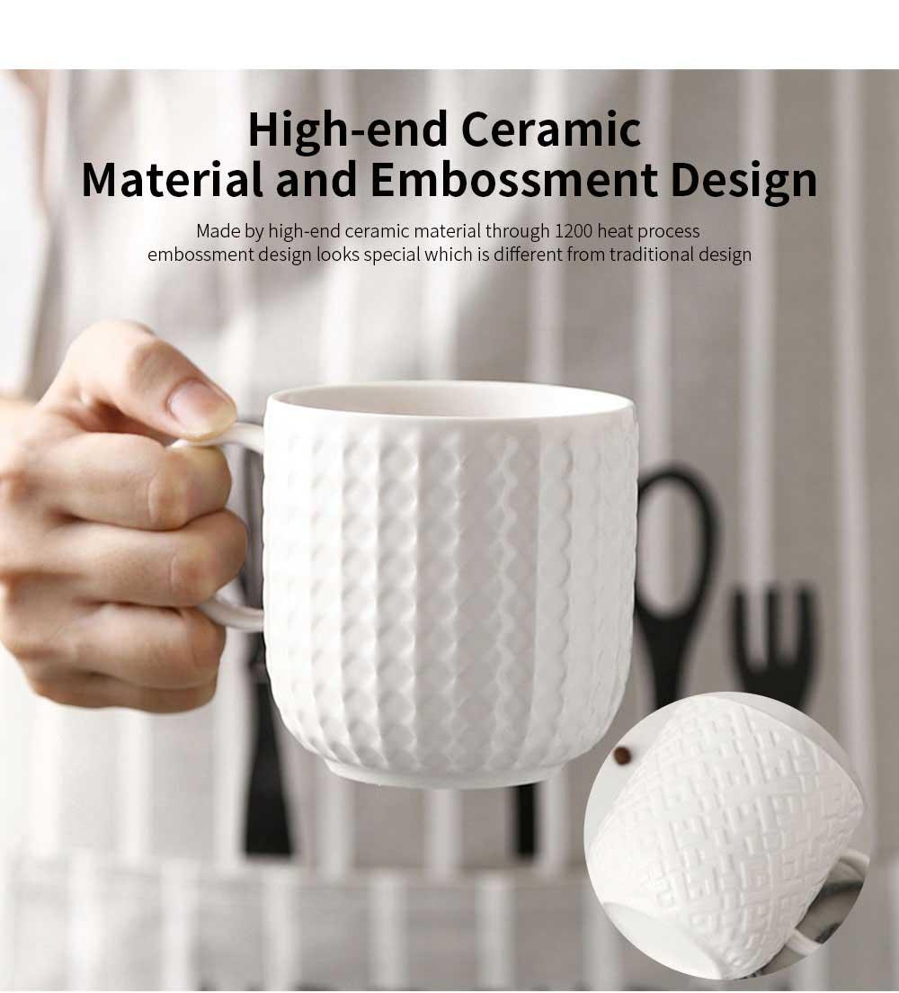 Ceramic Embossed Mugs, Plain Color Porcelain Coffee Mugs For Household Coffee Shop Bookshop Restaurant 3