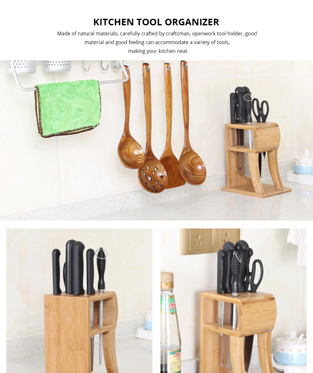 Kitchen Knives Organizer, Best Knife Storage Bamboo Knife Block 0