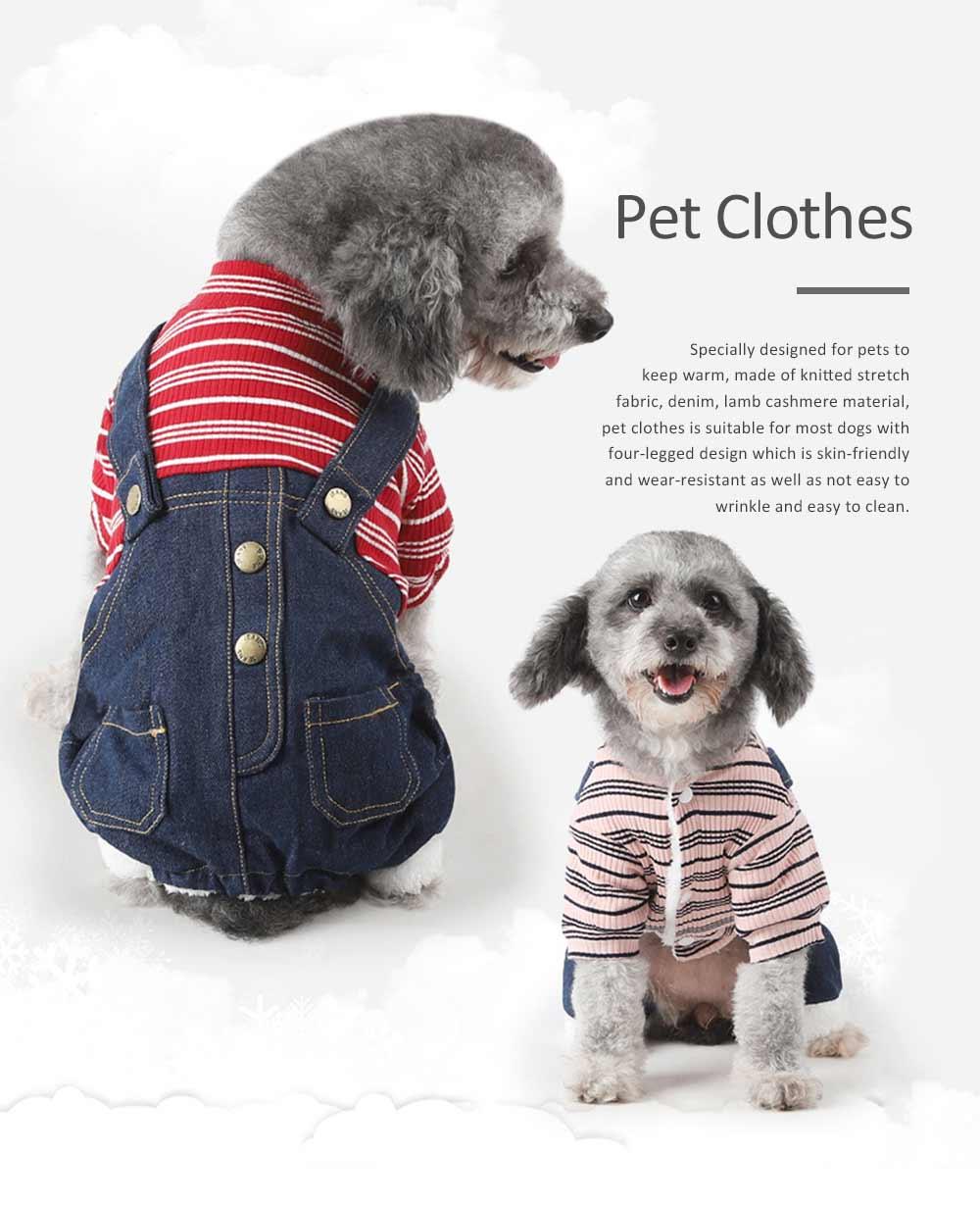Thick Warm Jeans Pet Clothes, Four-legged Dog Clothes 0