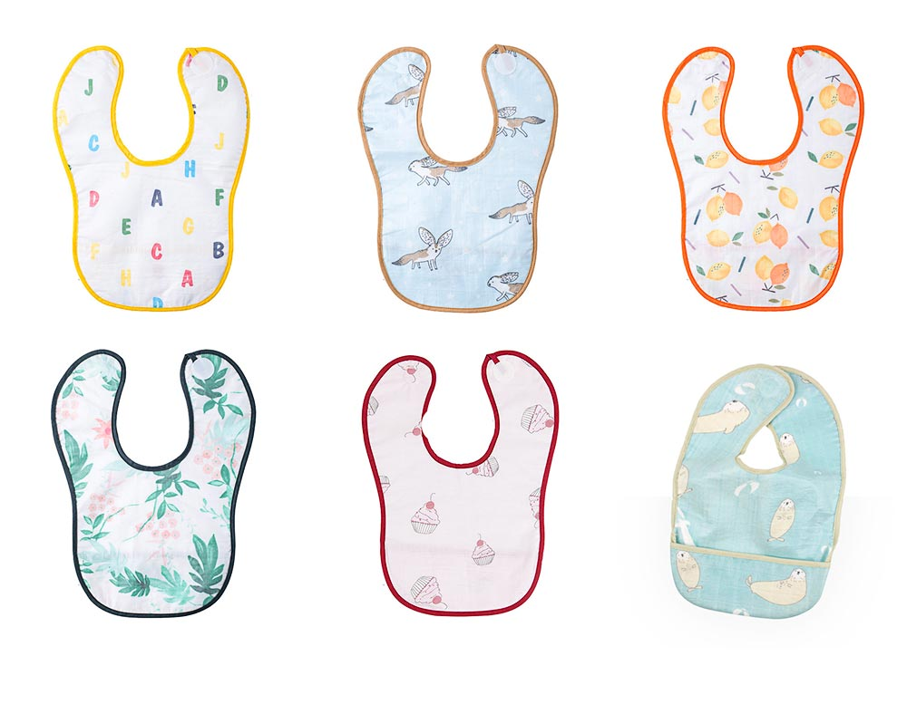 Waterproof Feeding Bib for Baby, Ecological Cotton Fabric Baby's Feeding Disposable Bib 8