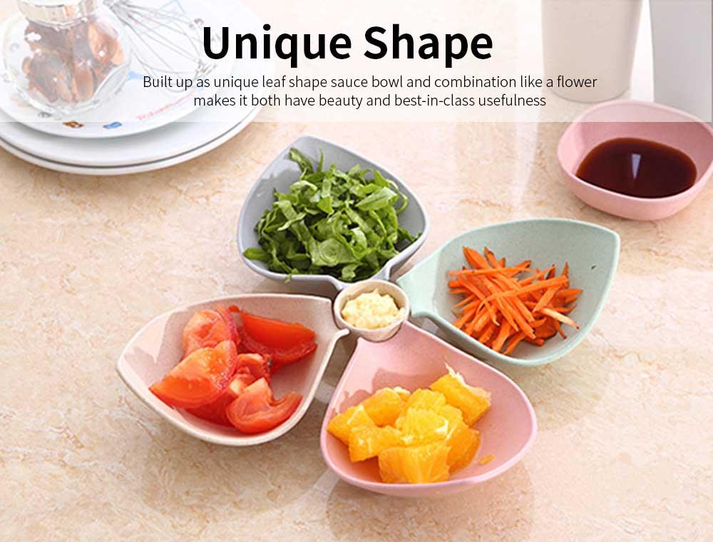 4 Bowl Relish Server, Service Bowl With Cup for Fruits, Snack, Dessert, Sauce, Vinegar Flavor Bowl 4