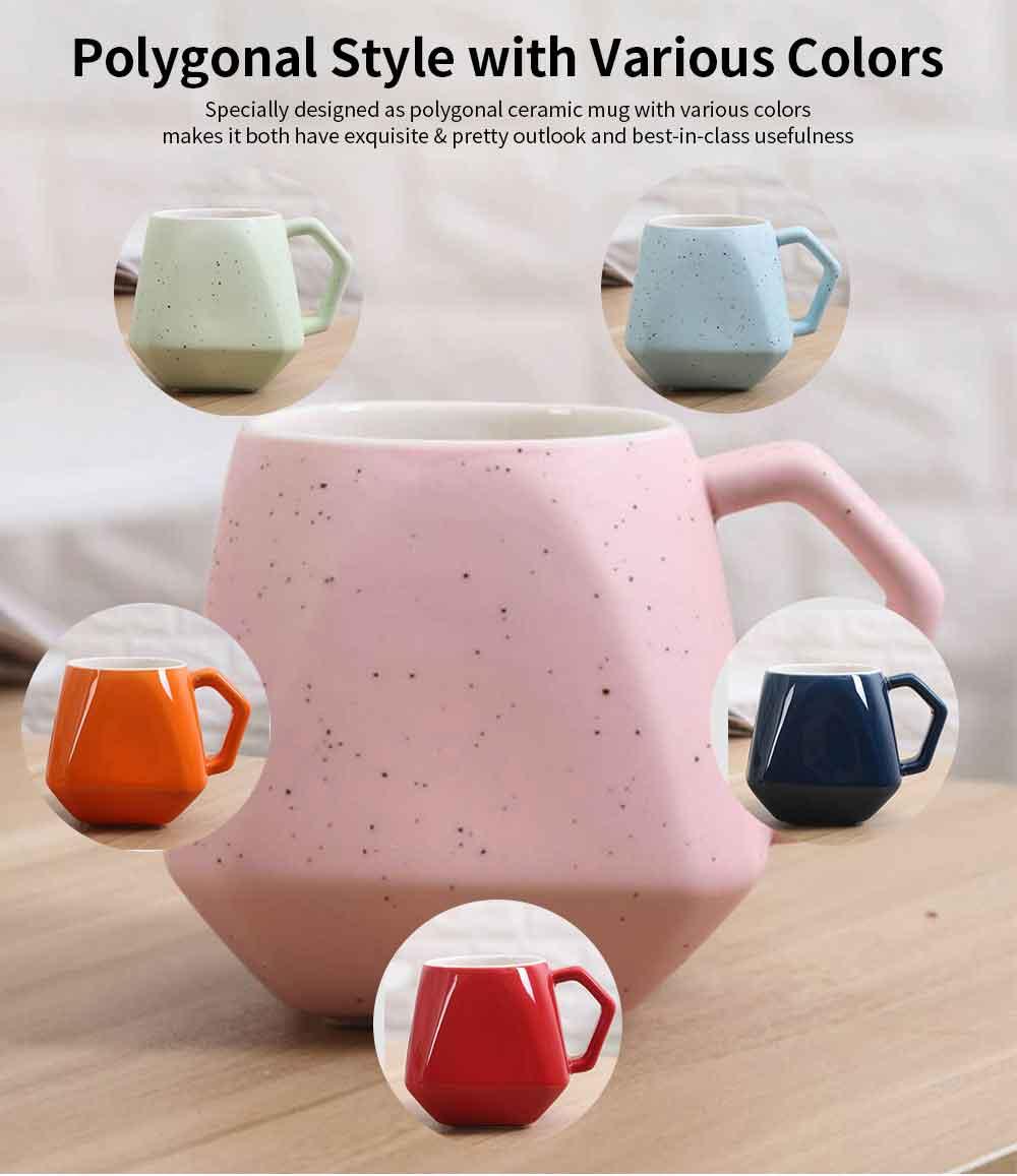 Polygonal Style Ceramic Coffee Milk Mugs, Colorful Stylish Porcelain Mugs 6