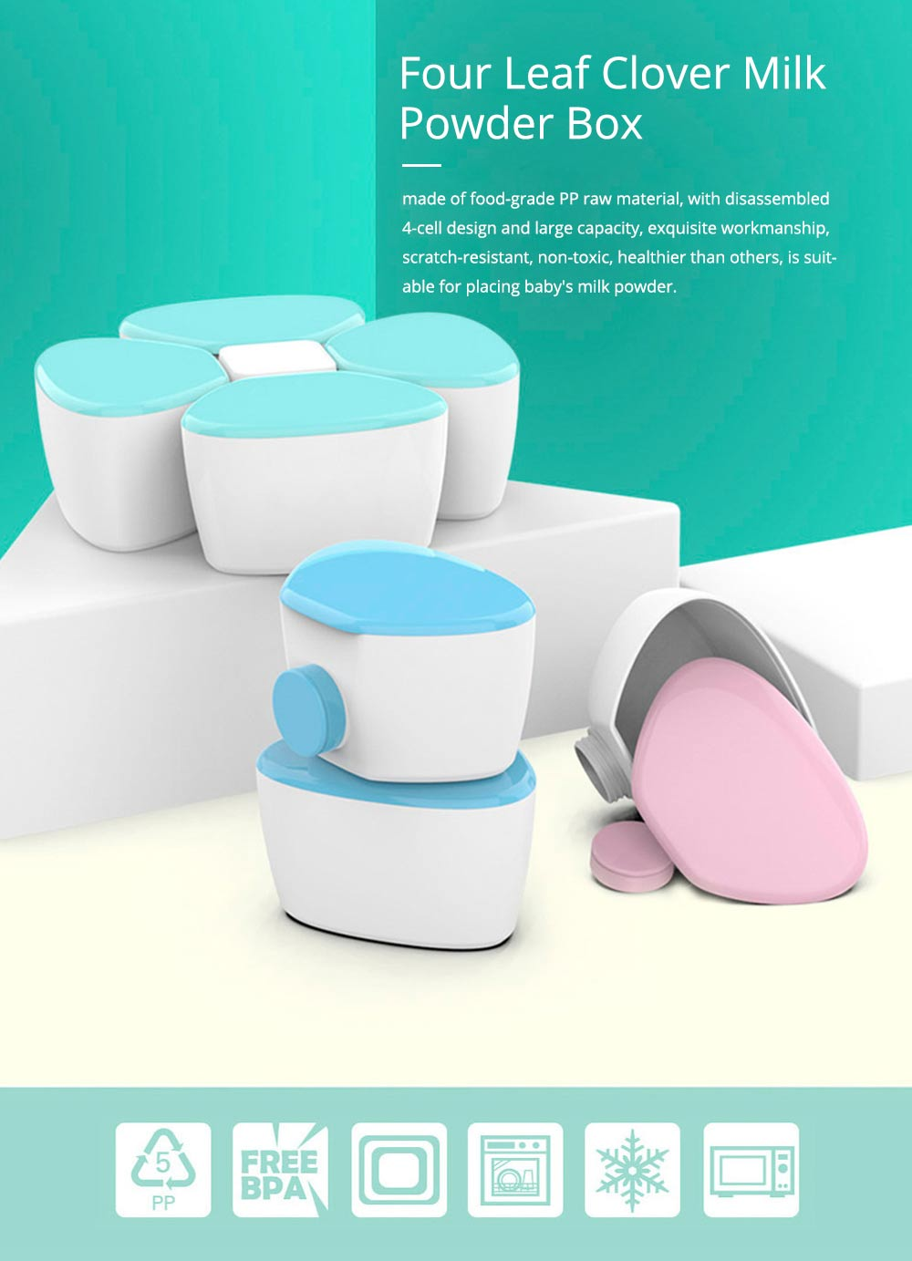 Four Leaf Clover Milk Powder Snack Box, Portable Large Capacity Baby Feeding Box for Food Supplement 0