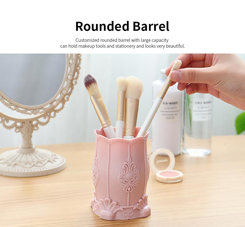 Embossed Makeup Storage Holder, Eyebrow Brush Container Makeup Tools Organizer Cosmetic Brush Holder for Women 2