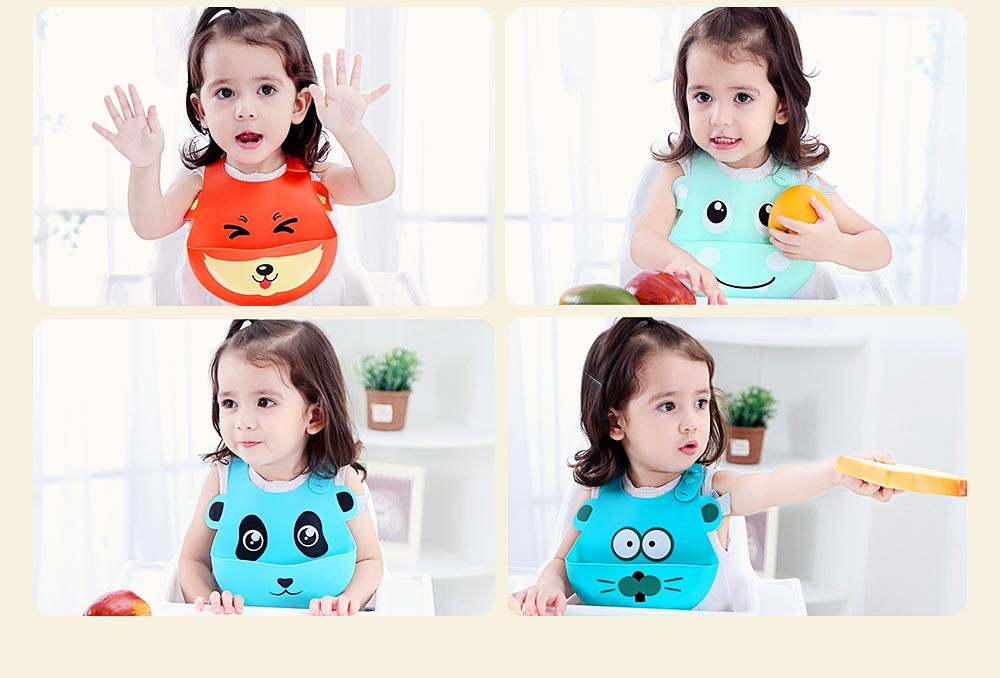 Food Grade Silicone Baby Feeding Bib, Waterproof Disposable Baby Rice Bib with 2-button Design 12