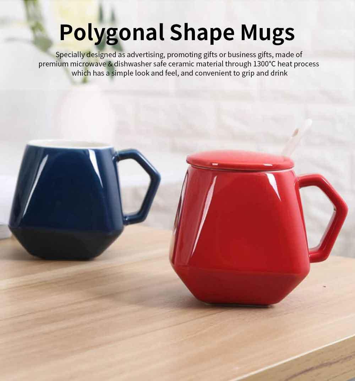 Polygonal Style Ceramic Coffee Milk Mugs, Colorful Stylish Porcelain Mugs 0