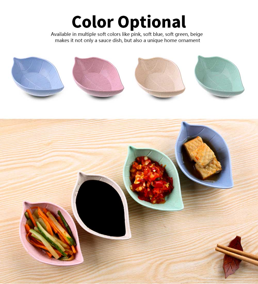 5 PCS Sushi Soy Sauce Dish With Leaf Shape, Degradable Wheat Straw Sauce Bowl For Household Restaurant 5