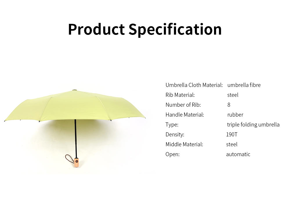 Automatic Open Close Umbrella, Triple Folding Umbrella With Strong Windproof 5