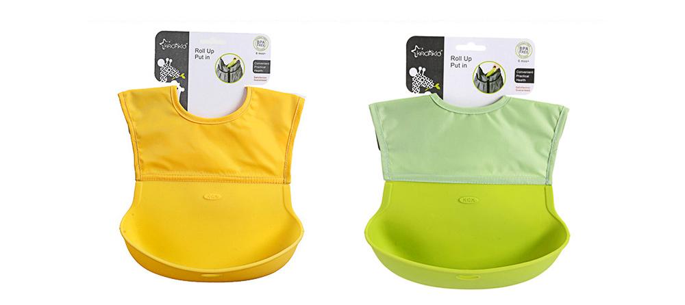 Baby Nylon Upper Waterproof Bib, Large Three-dimensional Soft Silicone Children's Eating Pocket Bib 9