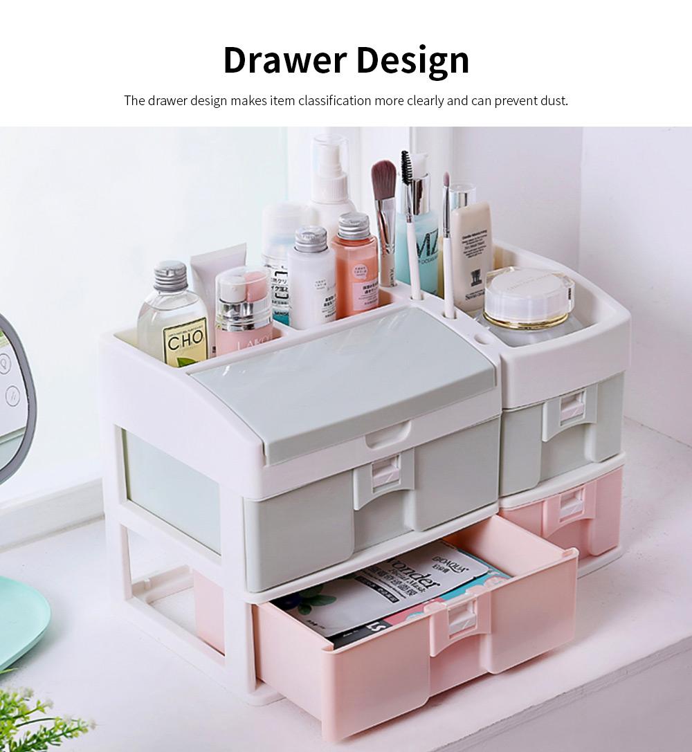 Desktop Dresser Jewelry Lipstick Makeup Organizer Holder, Drawer Type Storage Box for Cosmetic Skin Care Stuff 2
