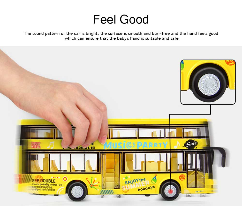 City Bus Model Toy Car, Simulation Alloy Model Toy Coach for Children 3