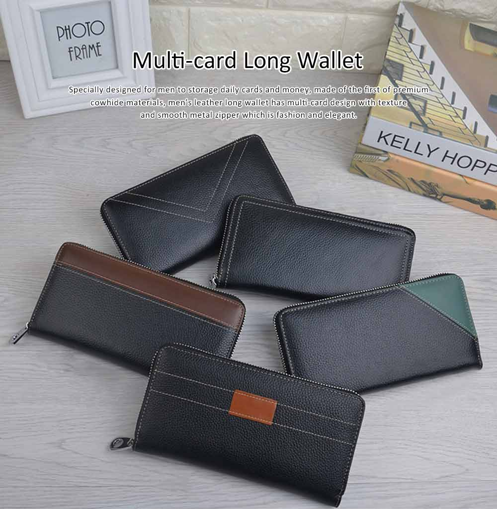 Multi-card Long Wallet with Metal Zipper, Casual Leather Wallet with Large Capacity for Men 0