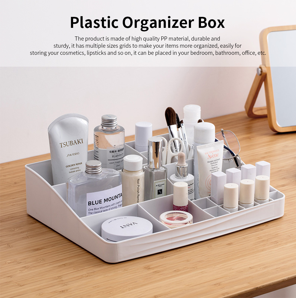 Makeup Holder Case Box with 13 Compartments, Simple Plastic Desktop Case for Cosmetic Skin Care Product Lipstick 0