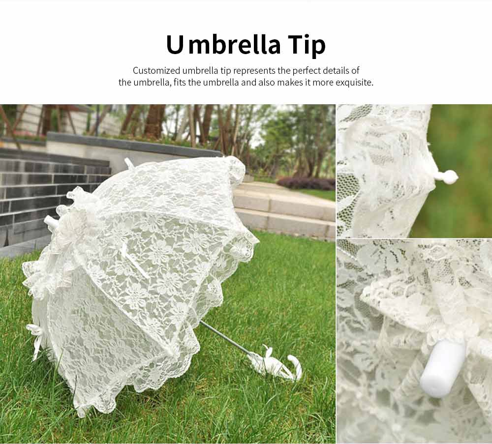 Wedding Lace Parasol Umbrellas, Wedding Decoration Umbrella With Wooden Handle 3