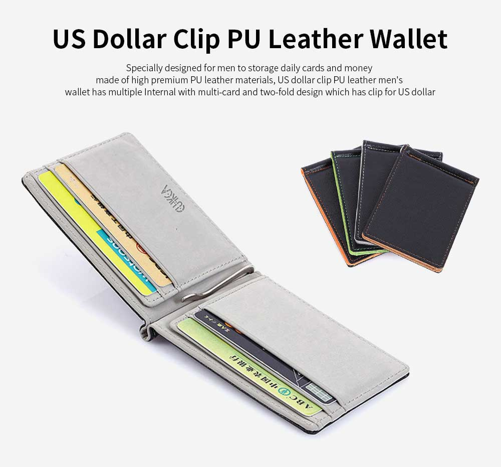 Leather Card Wallet With Money Clip, Sewing Thread Flip Wallet Credit Card Holder 0