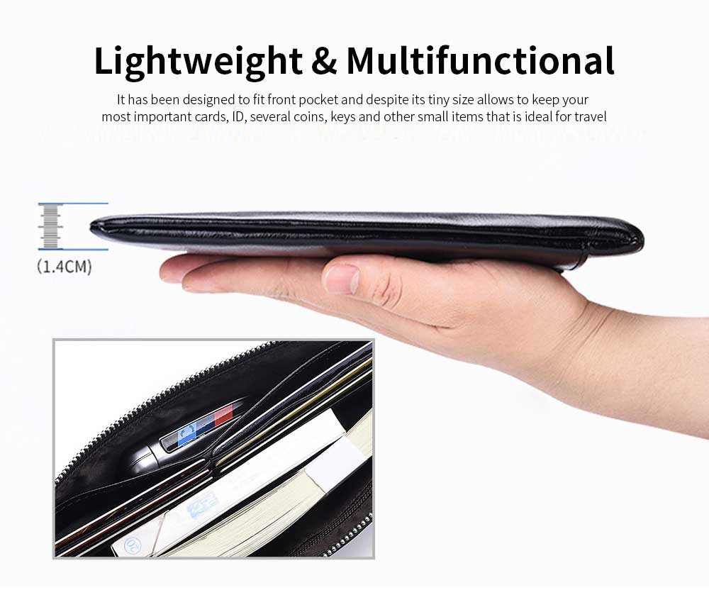 Best Mens Long Bifold Wallet, Genuine Leather Ultra-Thin Zipper Wallet For Mobile Phone 4