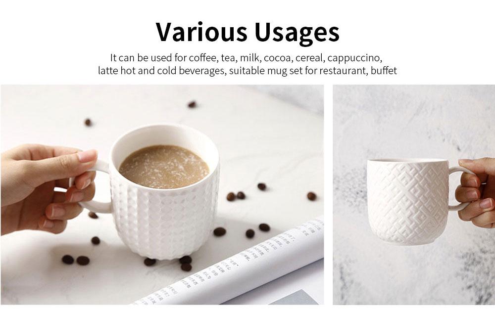 Ceramic Embossed Mugs, Plain Color Porcelain Coffee Mugs For Household Coffee Shop Bookshop Restaurant 2
